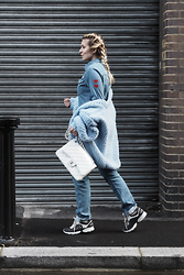 Iam Chouquette - Donna Ida Sadie Boiler Suit, I Love Mr Mittens Chunky Knit, Chanel Jumbo Classic Flap Bag, Chanel Sneakers - My Travel Attire