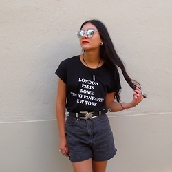 Isabella Loong - Quay Clear Reflective Sunglasses, Asos Black Denim Shorts - All eyes on us