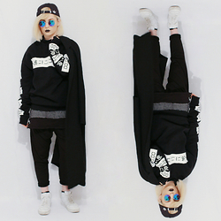 CHOHOH - H&M White Sneakers, Cloud Nine Baggy Harem Pants, Devided Long Fit Grid Shirt, H&M Japanese Lettering Sweater, Adidas Originals Black&White Cap - #allblack