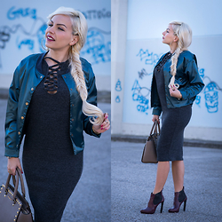 Eleonora Petrella - Oasap Lace Up Dress, Choies Bomber Jacket - Lace up bodycon dress