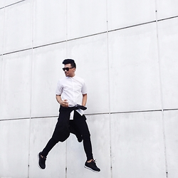 Michael Macalos - Yohji Yamamoto White Button Down, Givenchy Pants, Acne Studios Jacket, New Balance Sneakers - Go Jump!
