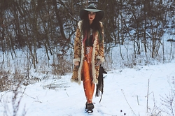 Muzzy Stardust - Vintage 1970's Shearling Coat, Lenni The Label Saint Pants - Girl, You'll Be A Woman Soon