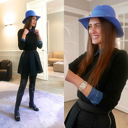 Amina Allam - Maison Michel Hat, Zara Tops, Maje Skirt, Gucci Over The Knee Boots, Georges Mak Bowtie - Work in progress...