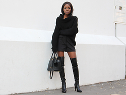 Rachel O. - Migato Over The Knee Boots, Michael Kors Selma, Bsb Fashion Shorts - How to wear shorts in winter