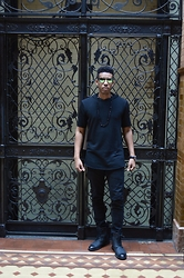 Darius Shipp - Forever 21 Black Long Lined Short Sleeve Hoody, Forever 21 Slim Cut Black Jeans, Delli Aldo Matte Black Wing Tipped Leather Boots, Aldo Sunglasses, Flee Market Jet Rock Necklace, Invicta Watch - Black On Black On Black...Basics