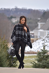 Kimberly Kong - Burberry Plaid Poncho, Hue Snakeskin Leggings, Rebecca Minkoff Quilted Bowler Bag, Stuart Weitzman Over The Knee Suede Boots - My First Designer Purchase
