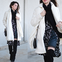 Carissa G. - Unlabeled Coat, Kimchi Blue Skirt, Ann Taylor Sweater, Olsenboye Boots, Fossil Purse - A Hint of Slip