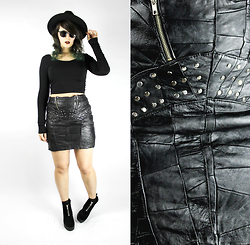 Maze - Vintage Studded Leather Skirt, H&M Zipper Boots - 80's Glam