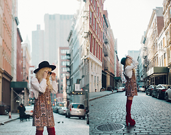 Rachel Lynch - Lack Of Color Black Hat, Motel Rocks Paisley Jumper, Yru Red Velvet Boots, Christian Dior Aviator Sunglasses - Transatlanticism