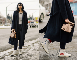 Alyssa Lau - Base Range Pyrenees Wool Coat, Priory Judd Pant, Smk Vegan Foldover Bag - Pseudo Sweat Suit