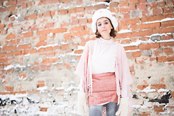 Gabriela A. - Skirt, Ushanka - Rose Quartz in a Winter look.