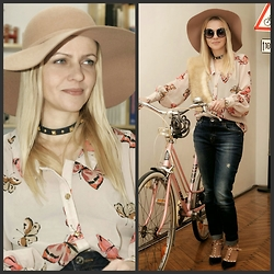 Gabriella B - River Island Distressed Boyfriend Jeans, New Look Camel Seventies Floppy Hat, Topshop Oversized Round Sunglasses, Oasap Studded Multi Strap Heels, Vintage Butterfly Print Silk Blouse, New Look Studded Leather Cuff / Choker, Vintage Faux Fur Collar - V FOR VINTAGE