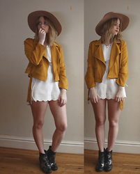 Chanel Q. - Missguided Faux Suede Jacket, Luxemme Two Piece, Topshop Fedora, Asos Star Boots - WINTER WHITE
