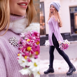 Alina Feminudity - Asos Fluffy Sweater, Mango Boots, H&M Skinny Jeans - Lilac Sweater