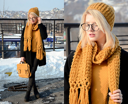Vlada Kozachyshche - Reserved Hat, Reserved Scarf, Reserved Bag, Pull & Bear Sweater, Eyewear, Pull & Bear Jeans, Topshop Coat, Topshop Shoes - Mustard