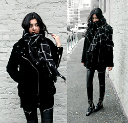 Florencia R - Blank Nyc Bear Coat, Zara Leather Pants, Saint Laurent Lace Up Boots, Blackfive Check Scarf - The Bear Coat
