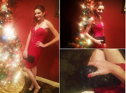 Rose Pendleton - Jcpenney's Red Dress, Payless Heart Necklace, Payless Long Necklace, Payless Black Glitter Heels, Payless Ball Earrings, Payless Thumb Ring, Target Black Glitter Clutch - Christmas 2015