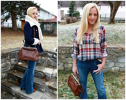 Gosia Borychowska - Sheinside Shirt, H&M Jeans, Wholesale7 Coat, Sammydress Bracelet, Wholesale7 Bag - Countryside look