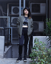 Melisa A - Jaded London Leather Cut Out Sport Bra, Pull & Bear Bomber Jacket, Adidas Sporty Trousers, Adidas Tubular - ACQUAINTED