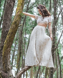 Tatiana M - Jen's Pirate Booty La Vie Crop Top, Anthropologie Metallic Pleated Maxi Skirt - Age of Consent