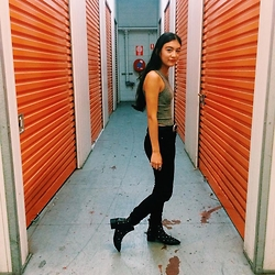 Isabella Loong - Asos Black Skinny Jeans, Asos Black Leather Studded Boots, Supre Grey High Neck Crop - In my stride