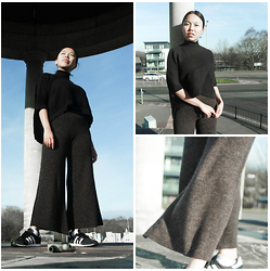 Smriti - River Island Turtleneck Sweater, Zara Flared Trousers, Adidas Trainers - Flare it