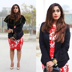 Surbhi Suri - Dress, Stalk Buy Love Black Blazer, Rhea Jewellery Bracelet, Christian Louboutin Pumps, Mango Clutch, Stalk Buy Love Fur Cape - Valentine Red