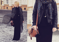 Anca Varsandan - H&M Satchel, Sheinside Faux Leather Jacket, Stradivarius Long Skirt, Pull & Bear Scarf, Dune London Cat Pom Pom, Claire's Bird Pendant - Birds Flying High