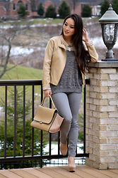Kimberly Kong - Charlotte Russe Beige Moto Jacket, Chicwish Celine Inspired Bag, Theory Gray Skinny Jeans, Deb Beige Platform Wedges, Madewell Colorblocked Knit - Color Combo:  Beige + Gray