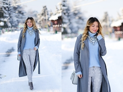 Andreea Ristea - Sheinside Grey Coat, Pull & Bear Serenity Sweater, Pimkie Snake Print Grey Pants, Choies Grey Boots - Winter colors