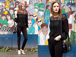 Alison Hutchinson - Witchery Top, Rag & Bone Bag, 7 For All Mankind Jeans, Jimmy Choo Heels - Black Black