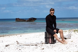 O C - Balmain Turtle Neck, Ralph Lauren Shorts, Goyard Luggage, Saint Laurent Sunglasses - Cast Away