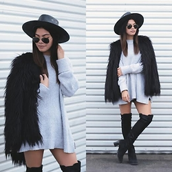 Angeline Cruz - Urban Outfitters Faux Fur Coat, Urban Outfitters Oversized Sweater, Ray Ban Aviator Sunnies - Shaggy