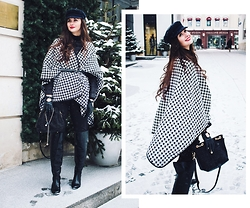 Anya Prosto - Asos Trousers, Sheinside Cape, Asos Cap, Stradivarius Over The Knee - Houndstooth Cape