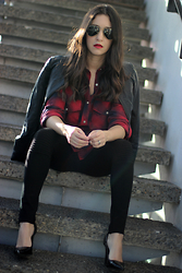 Anyelina G. - Forever 21 Faux Leather Jacket, Zara Tartan Shirt, Zara Black Pants, Jorge Bischoff Black Pumps - Rocker Chic