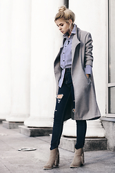Krist Elle - Sammy Dress Gray Coat, Striped Long Sleeve Blouse - Striped Blouse