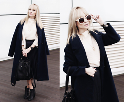 Chloe From The Woods - Sheinside Navy Long Sleeve Lapel Coat, Sheinside Beige Stand Collar Asymmetrical Knit Sweater, Few Moda Basic Pleated Skirt - CLASSIC LINES
