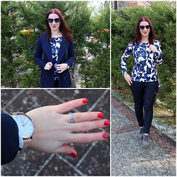 Rebel Takipte - Pinkbasis Navy Coat, The Time Keepers Watch, Trendsgal Blue Top - Navy Coat