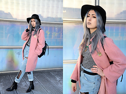 Léopoldine Cannibale - Mango Coat, Sheinside Top, The Ragged Priest Jeans, Zara Boots, Zara Bag, Asos Hat, Jule&Lily Necklace, Pamalaka Necklace - Rainbow & denim