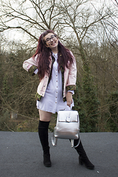 Olivia Lynn - Asos Pink Denim Jacket, Charity Shop Camouflage Jacket, Primark Shirt Dress, Office Ethan Flared Heel Boot, New Look Silver Backpack - Double Up Jackets