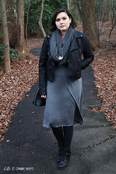 Gina S. - Blank Nyc Vegan Leather Jacket, Target Infinity Scarf, Loft Grey Dress, Zigi Soho Lace Up Boots - Greys & crystals.
