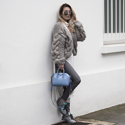 Iam Chouquette - Faux Leather Trousers, Seeworld Optical Porsche Sunglasses, Mr Mittens Knitted Bomber, C/Meo Collective Top, Givenchy Antigona Bag, Chanel Sneaker - Mr Mittens Motivation