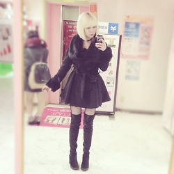 Fin ☆ - Luxe Rose Coat, H&M Over The Knee Boots, Glavil Choker - 19012016