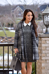 Kimberly Kong - Oasap Checkered Winter Coat, Betsey Johnson Collared A Line Dress, Ysl Gray Satchel - Workwear Wednesday:  The Collared A-line Dress