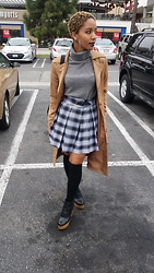D. Marissa - Deandri Pleated Prep Skirt, Macy's Cashmere Turtle Neck, Forever 21 Knee High Socks, Urban Outfitters Platform Shoes, H&M Suede Trench Coat - The craft