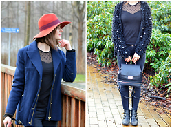 Cerasela Bortos - Zara Backpack, Bianco Leather Boots, H&M Dotted Shirt, H&M Wool Hat, Zara Jacket, Primark Cardigan - Look at that outfit!
