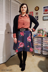 Gina S. - Loft Mixed Media Blouse, Target Cardigan, Modcloth Floral Polka Dot Skirt, Amazon Velvet Wedges - Roses & dots