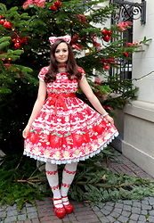 Dorothea Untan Dihel - Angelic Pretty Melty Berry Princess, Bodyline Shoes - Sweet Lolita