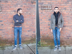 Hector Diaz - H&M Coat (Similar), J. Crew Elbow Patched Charcoal Shirt, Club Monaco Jeans, H&M Black Knit Scarf (Similar), Creative Recreation Shoes - Charcoal and Brick Walls