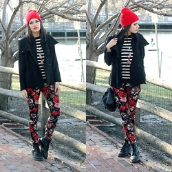 Lexi L - Principles Black Coat, Velvet Stripe Top, Bdg Floral Jeans, Dr. Martens Black Docs, Steve Madden Cross Body Bag - Cozy Rosy